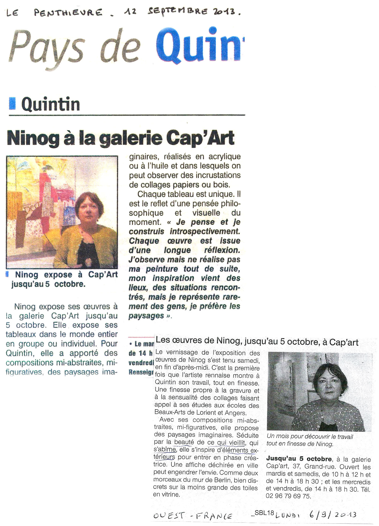 Quintin revue de presse 2013